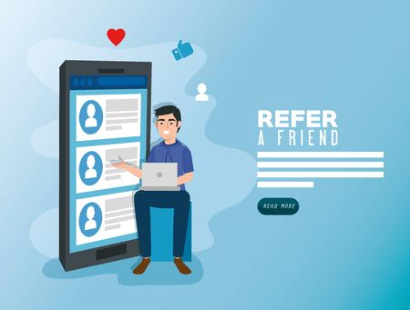 poster of refer a friend with young man and smartphone vector illustration design 向量圖像