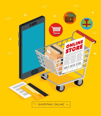 smartphone and shopping cart with icons of store online vector illustration design