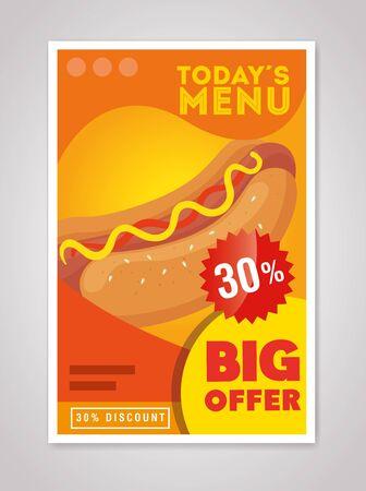 Poster großes Angebot an Fast Food mit dreißig Prozent Rabatt Vektor-Illustration Design