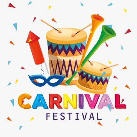 traditional drum with trumpet and mask to carnival festival vector illustration