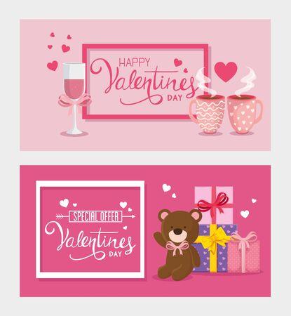 Définir des cartes de happy valentines day avec décoration design illustration vectorielle Vecteurs