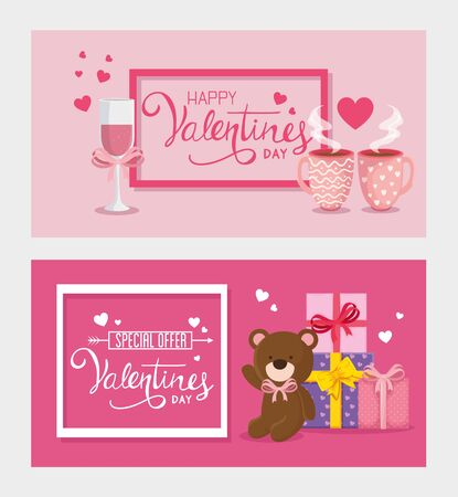 set cards of happy valentines day with decoration vector illustration design Vector Illustration