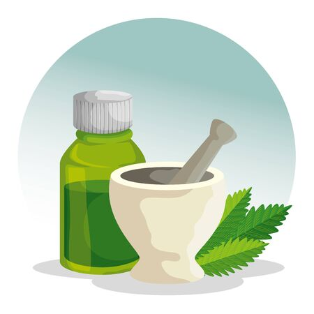 cannabis plant with stone grinding crusher and oil bottle vector illustration Çizim