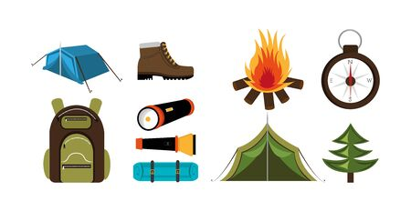 bundle equipment camping set icons vector illustration design 向量圖像