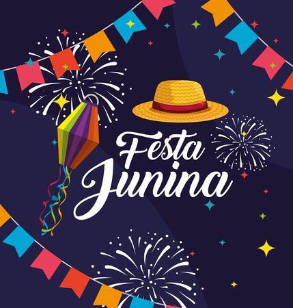 bannière de fête avec chapeau et illustration vectorielle de célébration d'artifice