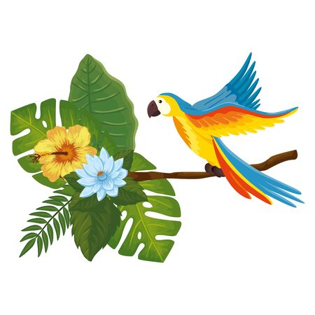 parrot animal in branch with leafs and flowers vector illustration design