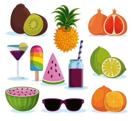 set tropical fruits with beverages and ice lolly vector illustration