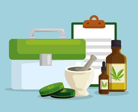 cannabis plant ointments with oil bottles and check list document vector illustration