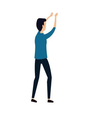 elegant young businessman with hands lifting vector illustration design