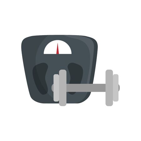 scale measure weight with dumbbell vector illustration design