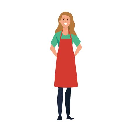 young woman artist with apron character vector illustration design