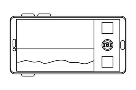 smartphone with summer beach seascape scene vector illustration design  イラスト・ベクター素材