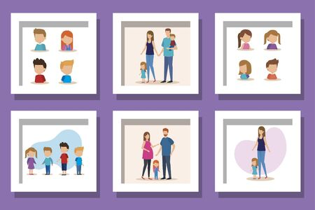 bundle of family parents with sons vector illustration design