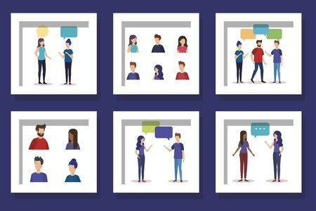 bundle with set designs of young people talking vector illustration design 矢量图像