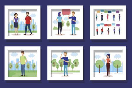 bundle with set designs of young people talking vector illustration design Ilustração