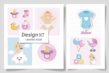 set six designs of baby shower for girl vector illustration design