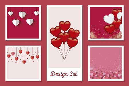 set designs of love with decoration vector illustration design Illustration