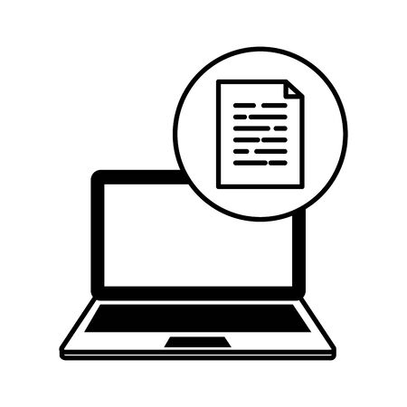 laptop computer with document file vector illustration design 向量圖像