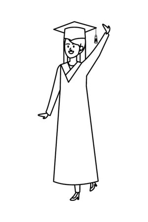 young woman student graduated celebrating vector illustration design Illustration