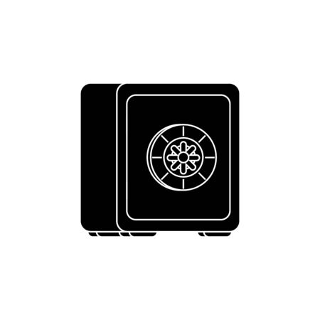 silhouette of strongbox private safety isolated icon vector illustration design  イラスト・ベクター素材