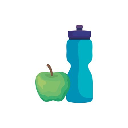 bottle water plastic with apple isolated icon vector illustration design