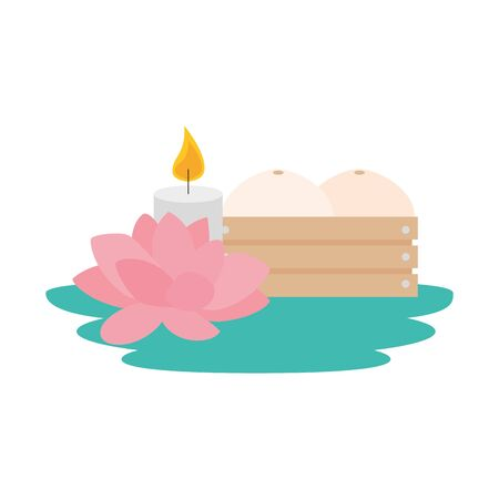 melons in wooden box with lotus flower and candle vector illustration design