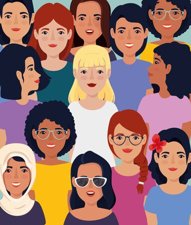 meeting of beautiful women avatar character vector illustration design