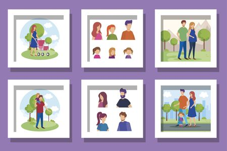 bundle of members family scenes vector illustration design