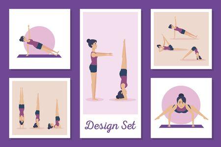 bundle of women practicing yoga vector illustration design Ilustración de vector