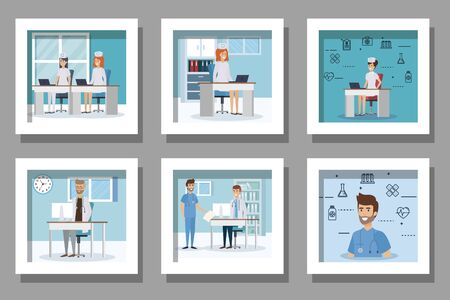 bundle of medical people in the workplace and set icons vector illustration design