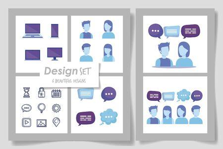 six designs of business set icons vector illustration design