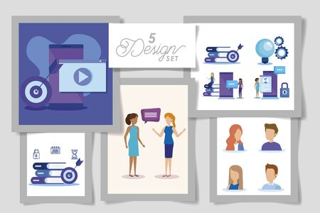 five designs of business people and set icons vector illustration design