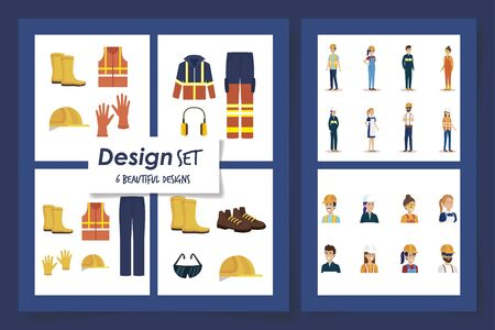 six designs of workers with uniforms and personal protection elements vector illustration design