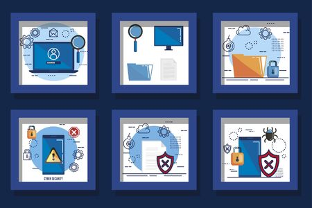 design set cyber security and icons vector illustration design Stockfoto - 136401826