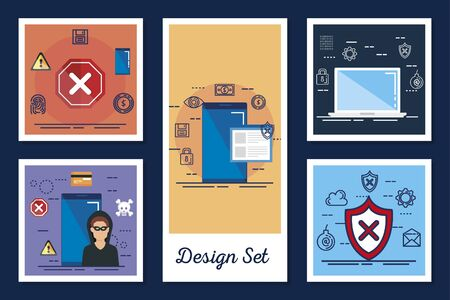 design set cyber security and icons vector illustration design Stockfoto - 136401171