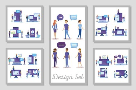 bundle of business people scenes and icons vector illustration design
