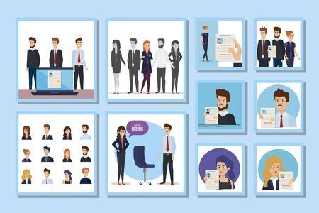 bundle of hiring with people vector illustration design