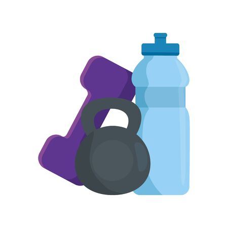 set of dumbbell with bottle water isolated icon vector illustration design