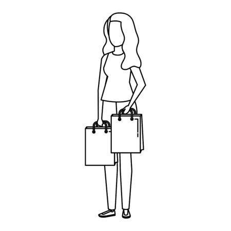 young woman lifting shopping bags character vector illustration design