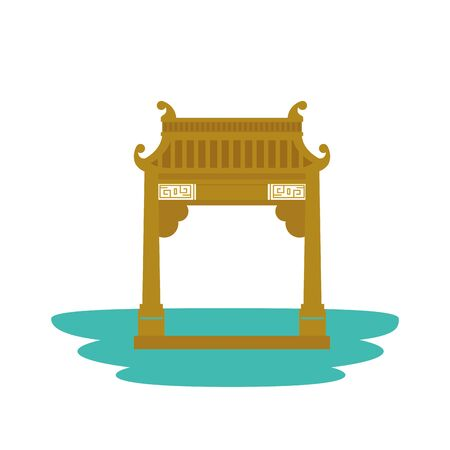 chinese arch building traditional icon vector illustration design 向量圖像