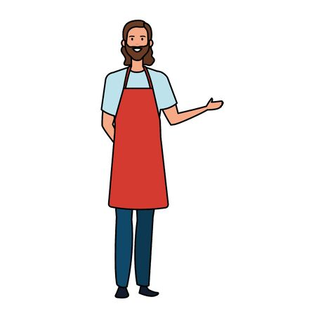 happy young artist man with apron vector illustration design 向量圖像