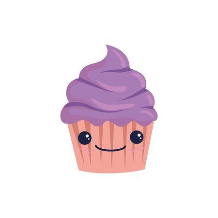 Cupcake cartoon design, Muffin dessert sweet bakery sugar pastry and food theme Vector illustration  イラスト・ベクター素材