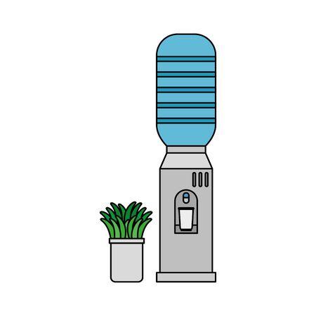 water dispenser machine and houseplant office equipment vector illustration design