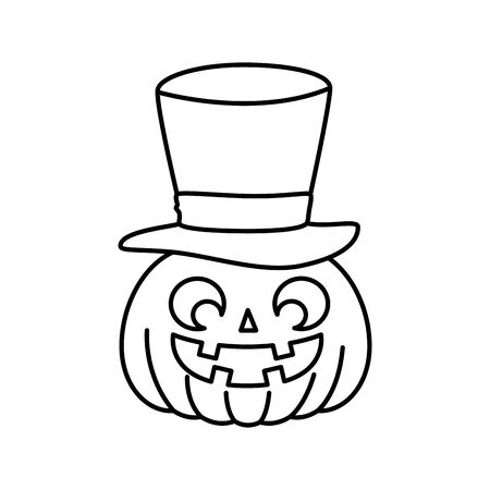 halloween pumpkin with hat wizard vector illustration design