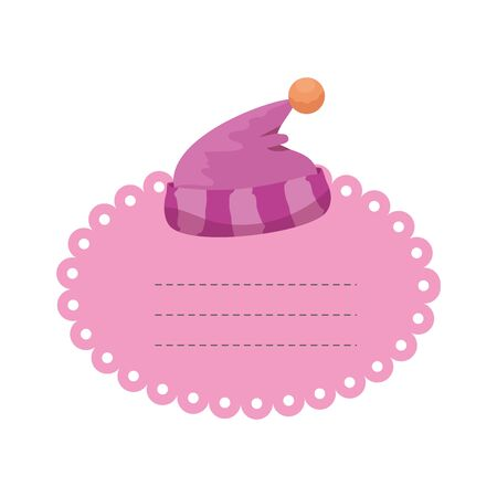 baby shower card with hat sleeping vector illustration design