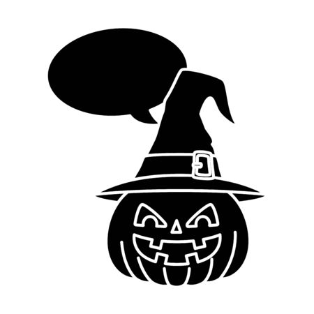 halloween pumpkin with hat witch and speech bubble vector illustration design