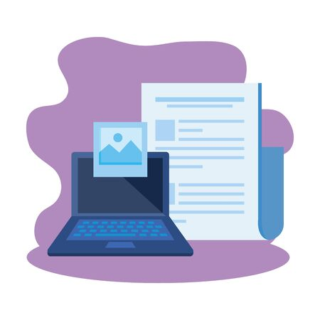 laptop computer with document file vector illustration design