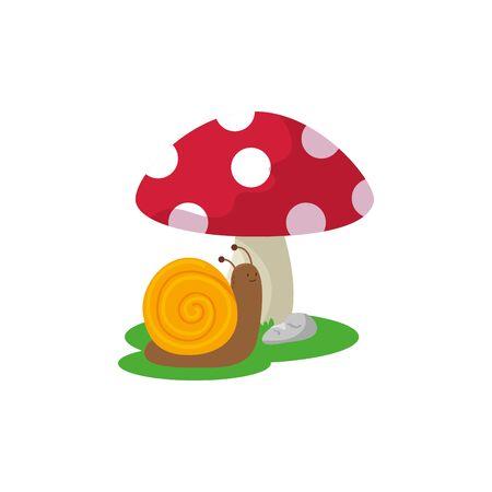 fungus plant with snail fairytale isolated icon vector illustration design 向量圖像