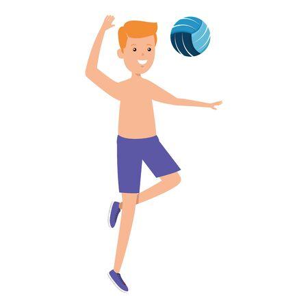 happy athletic boy practicing exercice vector illustration design