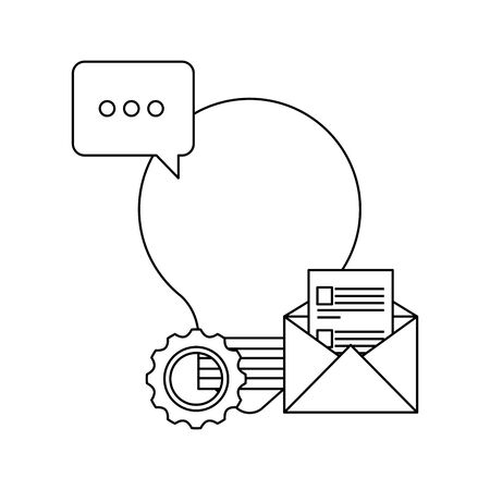 bulb light idea with envelope and speech bubble vector illustration design